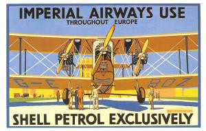 Imperial Airways, Europe, Shell Petrol Exclusively 1920s Poster Reprint