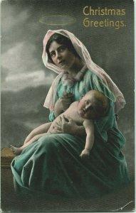 Vtg Carte Postale 1914 Cppr Teinté Noël Voeux - Mary Avec Halo & Bébé Jésus
