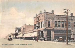 Glendive Montana Business Street Scene Antique Postcard K13206