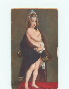 Unused Pre-1907 risque SEMI NUDE WOMAN WRAPPED IN COAT k3781