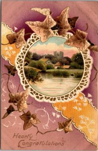 Hearty Congratulations  - FARM NATURE LAKE SCENE - VINTAGE POSTCARD - 1909