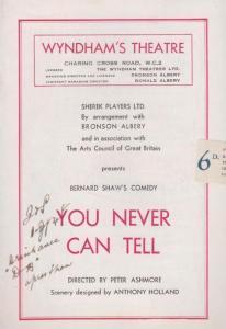 Bernard Shaw You Can Never Tell Wyndhams London Theatre Programme