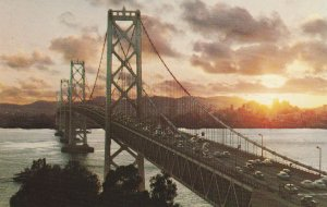 10731 San Francisco-Oakland Bay Bridge at Sunset California 1961
