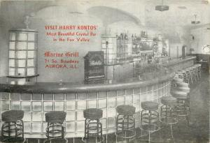 Harry Kontos Crystal Bar Marine Grill Aurora Illinois IL Postcard