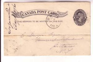 Victoria Postal Stationery Card, Fergusons Point NB Split Ring, Pictou NS 189...