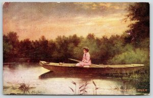 Zula Kenyon~Down on the Suwannee River~Lovely Lady in Rowboat~Pink Coat~1909