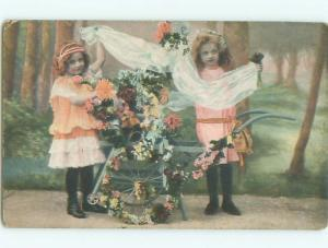 Pre-Linen GIRLS WITH ANTIQUE WHEELBARROW FULL OF FLOWERS AC2082