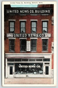 Detroit MI~United News Bldg Gone*~Display Window~Boxing Poster~Serpentine~1920s
