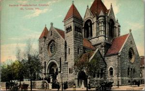 St Louis Missouri~2nd Presbyterian Church~Congregants Leave Service~Auto~c1910