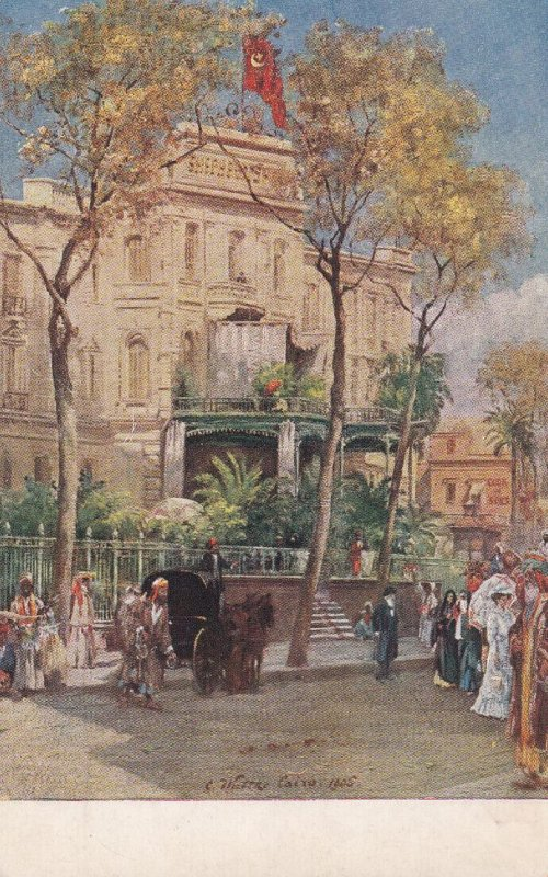 CAIRO, Egypt, 1900-1910s; Shepheard's Hotel, Terrace And Entrance
