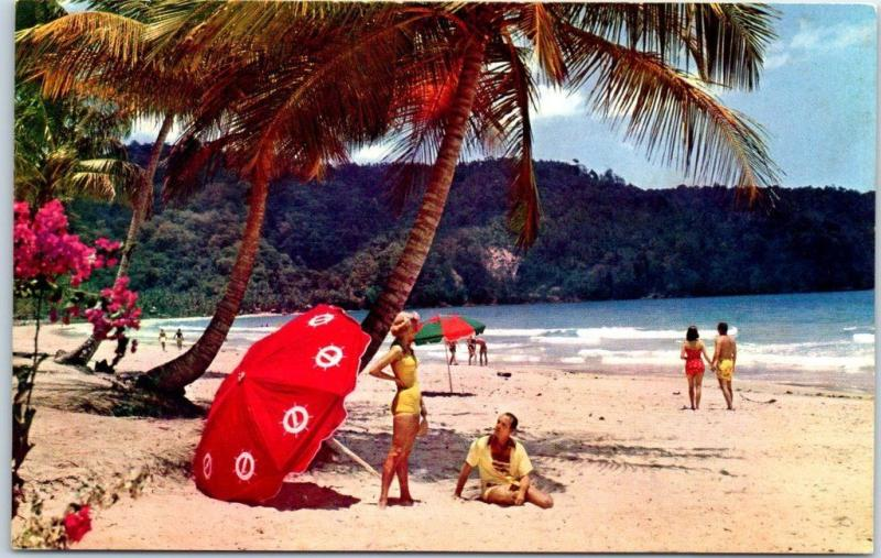 Pan-Am World Airways Advertising Postcard TRINIDAD Maracas Bay Beach Scene