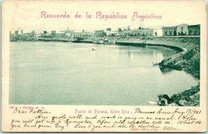 1903 Postally-Used BUENOS AIRES Argentina Postcard Puerto de Parana w/ Cancel