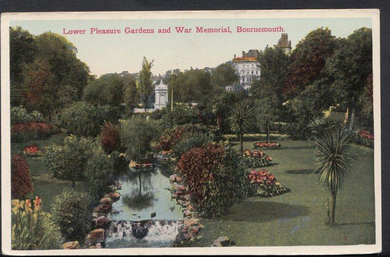 Dorset Postcard - Lower Pleasure Gardens & War Memorial, Bournemouth RS3429