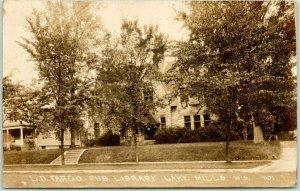 LAKE MILLS, Wisconsin RPPC Real Photo Postcard L.D. FARGO PUBLIC LIBRARY 1933