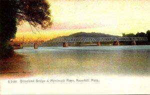 Massachusetts Haverhill Groveland Bridge & Merrimack River Rotograph