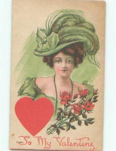 Pre-Linen Valentine PRETTY GIRL WEARING FANCY HAT AB2967