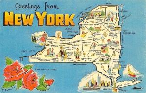 New York~State Map Postcard~Man With Fish Stringer~Snow Ski~Cadets~Baseball~1960