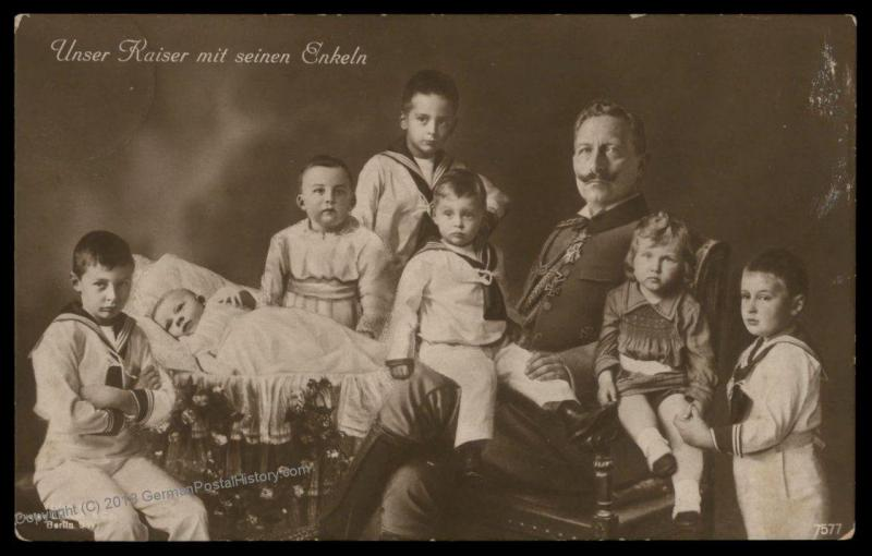 Germany WWI 1916 Kaiser Wilhelm II and Enkeln Grandsons Patriotic  RPPC 79555