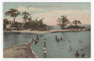 Bathing Scene Double Beach Connecticut 1910c postcard