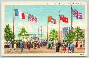 New York City~1939 Worlds Fair~An Information Booth~ART DECO Linen Postcard