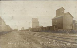 Doland SD Elevator Scene RR Cars c1910 Real Photo Postcard