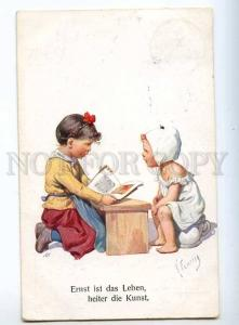 240504 Girl reading Book on POT by FEIERTAG Vintage postcard