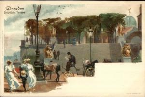 Paul Kley - Dresden Germany Bruhl'sche Terrasse c1900 Postcard FINE LITHO