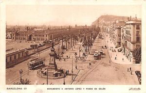 Spain Old Vintage Antique Post Card Monumento a Antonio Lopez y Paseo de Colo...