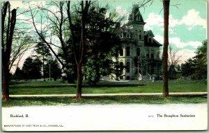 Rockford, Illinois Postcard The Broughton Sanitarium Building View 1907 Cancel