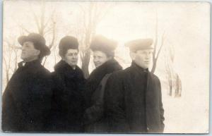 Iowa RPPC Real Photo Postcard 2 Couples Black Overcoats Snow 1908 Renwick Cancel