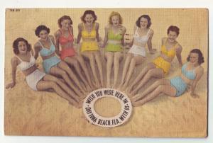 P1044 1949 bathing beauties wish you were here with us daytona beach florida