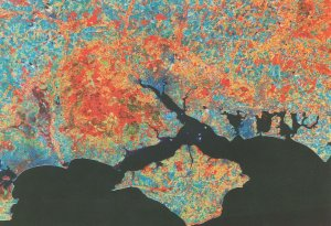 Hampshire Isle Of Wight From Outer Space Astronomy Map Postcard