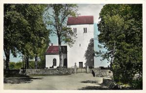 Farstorp Hässleholm Sweden~Colorized RPPC Church~Kyrka Stone Wall~1940s Postcard