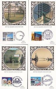 Benham British Modern Architecture 4x Postcard Silk Card s