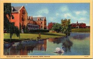 Postcard NV Nevada Reno Manzanita Lake University Swan Unposted Linen