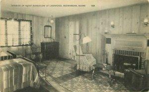 American Guest Bungalow Lakewood Skowhegan Maine interior 1930s Postcard 8855