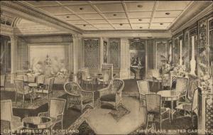 Canadian Pacific Steamship CPS Empress of Scotland Winter Garden Postcard