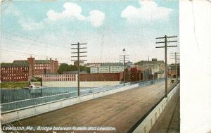 Lewiston Maine~Vintage Car on Bridge to Auburn~Trolley Tracks~1905 PC
