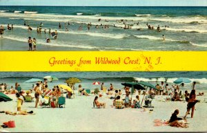 New Jersey Wildwood Crest Greetings Showing Beach and Sunbathers 1982