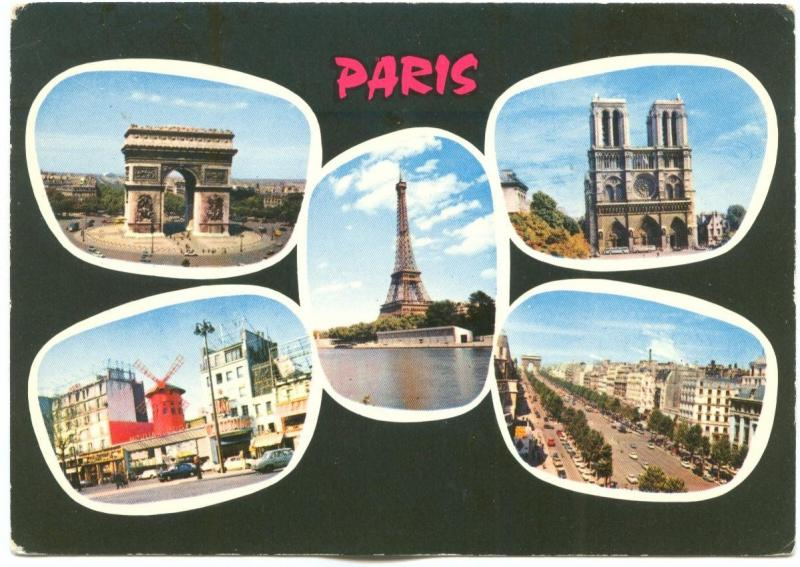France, Paris, multi view, 1960s used Postcard
