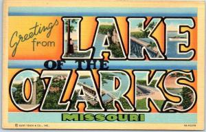LAKE OF THE OZARKS Missouri Large Letter Postcard Curteich Linen c1940s Unused