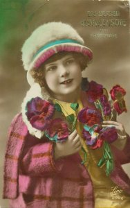 Cute girl early tinted postcard children portraits hat heart ease flowers