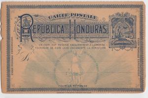 Foreign Postcard Rare c1910 REPUBLIC of HONDURAS Stamp Central America