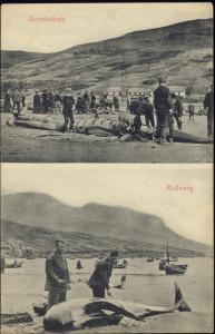 denmark, Faroe Islands, MIDVAAG, Grindedrab Whaling (1910s)