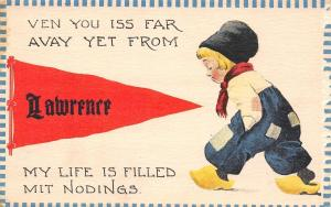 Lawrence KS Ven You Iss Far, My Life Is Filled Mit Noddings 1915 Pennant