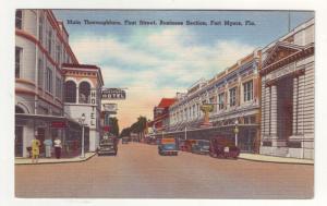 P283 JL 1958 postcard ft meyers fl 1st st business view cars