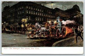 New York City~Midnight Fire Alarm~Horse Drawn Pumper Wagon Races~c1905 Postcard