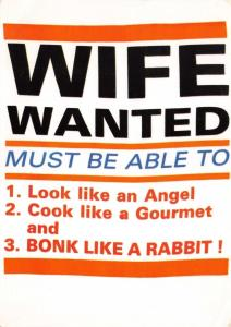 Postcard WIFE WANTED Comic, Saucy, Rude, Slogan Bonk Like a Rabbit #173