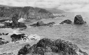 Coast Sea, Cliff, Rocks, Landscape, Essex, Sepia Photo