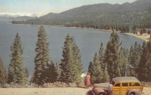 LAKE TAHOE Zephyr Cove, NV 76 Gas Union Oil Co. Woody Wagon c1950s Postcard
